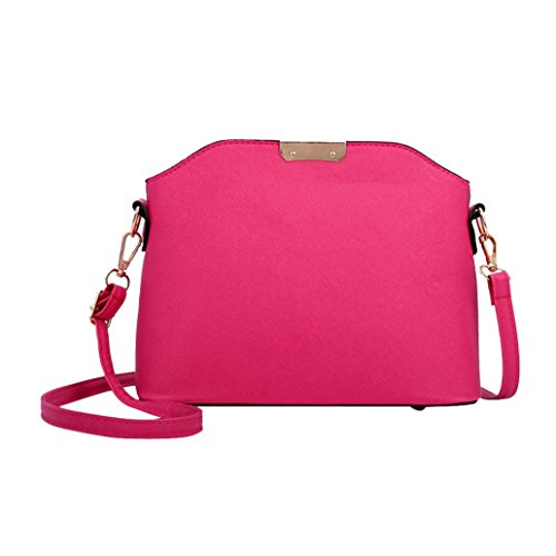 URSING Damen Tasche Einfarbig Kuriertaschen Schultertasche Leder Clutch Elegant Umhängetasche mit Reißverschluss Chic Umhänge Pouch Clutch Attractive Cross Body Schulter Messenger Bag (Pink) (Armband-clutch-brieftasche)