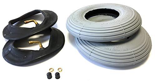 Rollstuhlreifen 2 Stück 200 x 50, (auch 8x2), grau, + 2 Stück Schlauch mit Winkelventil in Fahrtrichtung 90°/30°, Reifen mit Rillenprofil Leichtlauf, Luftdruck 25 PSI, passend für manuellen Rollstuhl