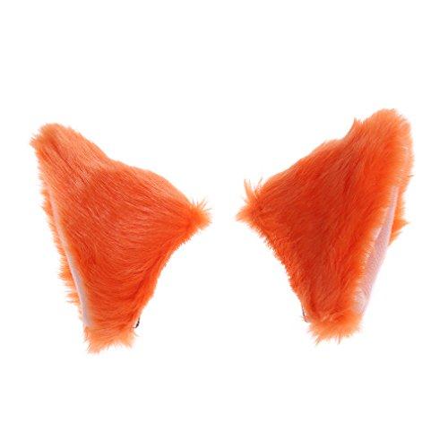 Yinew Katzenohren mit Haarspange für Damen, Mädchen, Plüsch, Anime / Cosplay, Orange, Siehe Produktbeschreibung