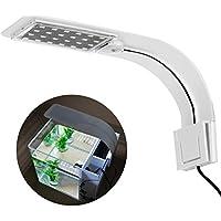 UEETEK LED Aquarium Licht Pflanzen wachsen Beleuchtung Kreative Clip-on Lampe mit EU-Stecker (Blaues weißes Licht)