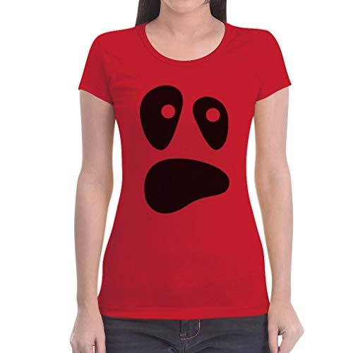 Witzige Ghoul Face Halloween Ghost Kostüme Damen Shirts Damen T-Shirt Slim Fit Medium Rot