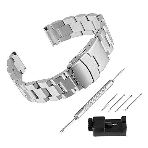 BEWISH 20mm Uhrarmband Edelstahl Ersatzband Solide Metall Uhr Band Riemen Uhrenarmbänder Smart Watch Strap Band Ersatz Schmetterling Faltschließe Uhr Armband Uhrmacherwerkzeug...