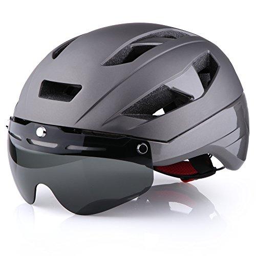 Base Camp Moon - Casco para Bicicleta de Carretera con Visera de protección Ocular extraíble para Ciclismo en Adultos - Tamaño Medio 21.75-23.25 Pulgadas