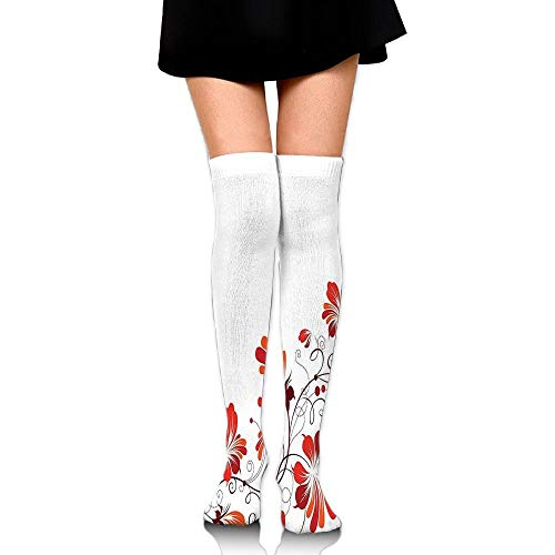 Juzijiang Chinese Purity Symbol Blooms With Curved Lace Branch And Leaves Women's Fashion Over The Knee High Socks (65cm) (Kids Lace Boot Socken)
