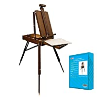 "US Art Supply Walnut Coronado French Style Easel & Sketchbox with 12"" Drawer, Wooden Pallete & Shoulder Strap"