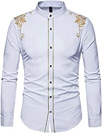 Vertvie Mens Long Sleeve Stand Collar Casual Business Embroidery Dress Shirt