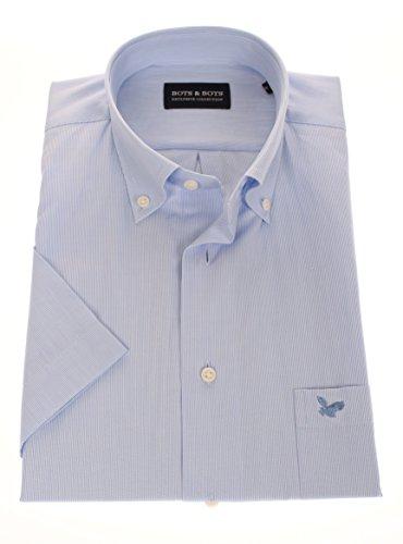 178623 - Bots & Bots - Kurzarm Shirt - Cotton - Button Down - Normal Fit Hellblau