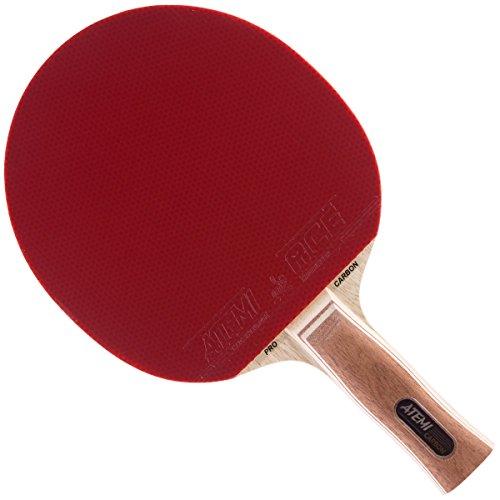 Atemi Pro Tischtennisschläger Carbon 3000 - Überlegene Kontrolle und Kraft - Aus natürlichem, nicht-gefärbtem exotischen Holz - Ping Pong Schläger - ITTF zugelassen - für Spieler aller Level (Anatomisch)