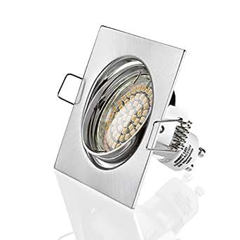 Sweet LED Cadre de montage carré blanc 60 SMD LED spots encastrés 230V , acier, blanc froid, ensemble complet
