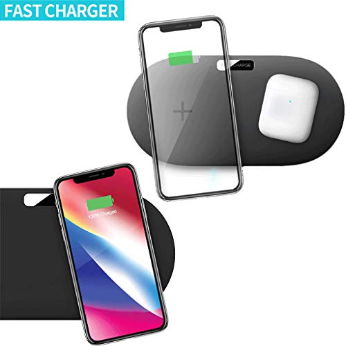Dkings Dual-Charge 10w7.5w schnelles drahtloses Ladegerät,Wireless Charger, Schnellladestation & Pad, Wireless Qi-Ladestation, für iPhone 8/8 Plus/X für Samsung S9 S8 S7 / Google Nexus 4/5/6 mehr
