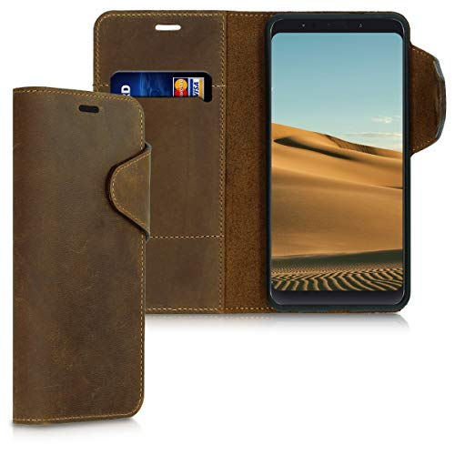 kalibri Xiaomi Redmi Note 5 (Global Version) / Note 5 Pro Hülle - Leder Handyhülle für Xiaomi Redmi Note 5 (Global Version) / Note 5 Pro - Handy Wallet Case Cover (Handy 5 Cover)