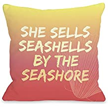 "One Bella Casa Seashell by The Seashore Outdoor Throw Pillow by OBC, 18""x 18"", Orange/Multi"