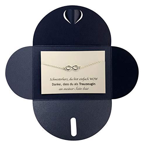 Lillyville - Trauzeugin Infinity Armband Silber mit Karte - Schwesterherz, du bist Wow - Geschenk für Schwester - Hochzeit Schmuck Armkette - Umschlag Dunkelblau