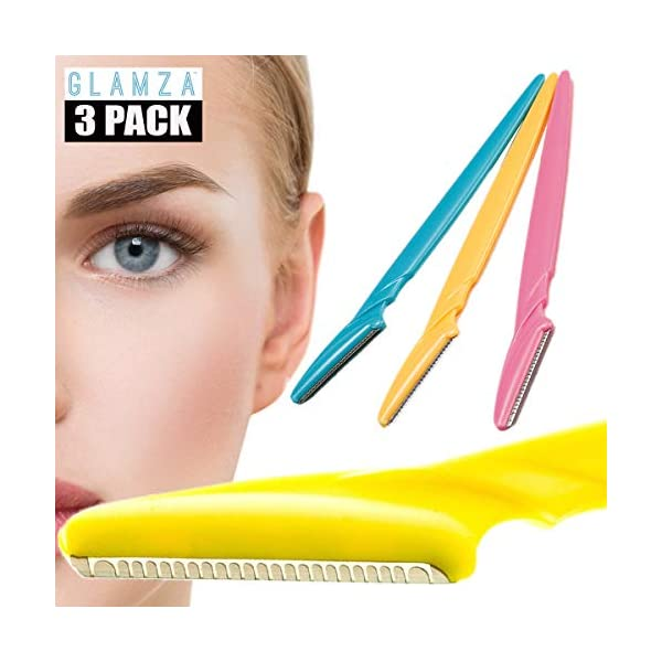 Glamza No Flick 3 Pack Eyebrow Brow Shaper Razor Dermaplaning Safe Painless Portable Womens Shaver Trimmer Tool Grooming Kit