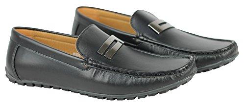 Boucle Imitation cuir Argenté pour Smart Chaussure décontractées Loafers Noir - noir