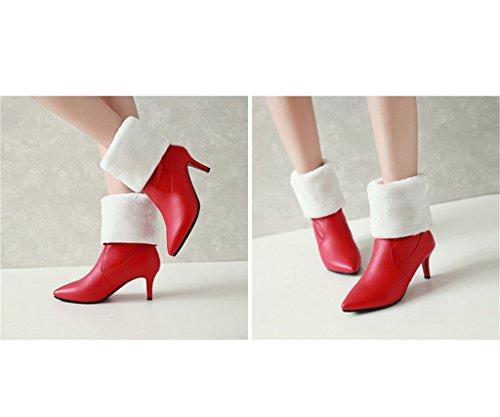ALUK- Autunno e inverno - Scarpe da sposa cinesi scarpe da sposa finemente martinate stivali da donna scarpe da sposa ( Colore : Rosso , dimensioni : 35-foot length 225cm ) Rosso