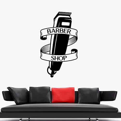 zhuziji Spaß Friseur Rasierer Vinyl Fenster Aufkleber Wandkunst Aufkleber Friseure Haarschnitt Wandaufkleber Wohnkultur Modern Home Decorati 42x72cm