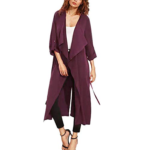 SHOBDW Damen Simplicity Solid Draped Trenchcoat Cardigan Mantel Poncho Plus Lang Tops Shirts Bluse Frauen Herbst Strickjacke Unregelmäßige Schnüren Windschutz Dünne Oberteile