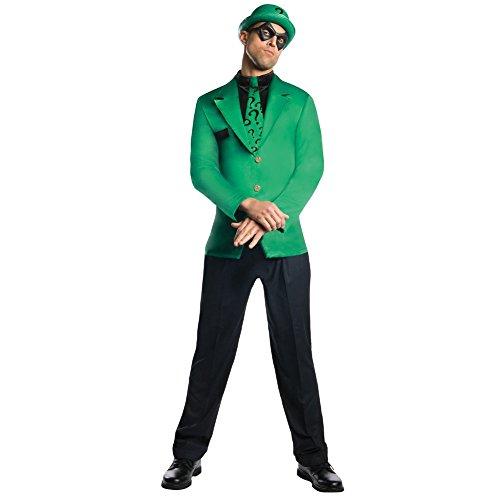 Kostüme Riddler (Der Riddler erwachsenes Kostüm Grün Anzug, Krawatte, Hut Augenmaske Batman Villain DC Comics)
