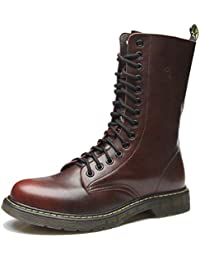 Hombres Martin Botas Militares Botas A Media Pierna De Cuero Zapatos De OtoñO Invierno Zapatos Cruzados