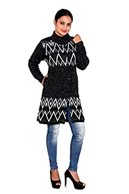 Woolly Women's and Girls Zig zag Designed Coat with Pockets for Winter-1941