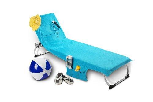Sac de plage formant serviette de plage multifonction avec rangements Turquoise En velours microfibre