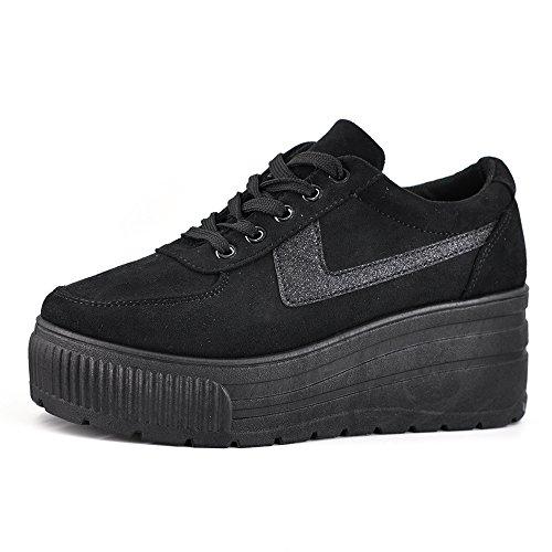 Scarpe Donna Ginnastica Sneakers Sportive Casual Platform Zeppa Alta Moda Scamosciata 063 Nero 40