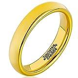 AMDXD Damen Herren Ring Wolfram Stahl (mit Gratis Gravur) Runde 4MM Gold Ehering 60 (19.1)