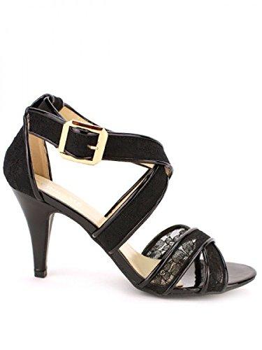 Cendriyon, Escarpin Bi matière VIVINA Mode Chaussures Femme Noir