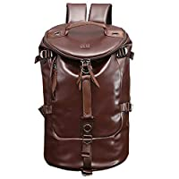 Large Capacity Casual Backpack   Luxury PU Leather with Wide Mouth   Duffel Sports Gym Bag, Vintage style Travel Backpack, Rucksack,   One Size   Water Resistant (Brown))