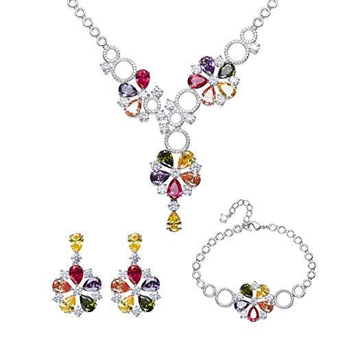 Zsml gioielli donna set zircone collana orecchino bracciale in tre pezzi, swarovski elements colore cristallo bohemien stile gioielli di moda amore regalo