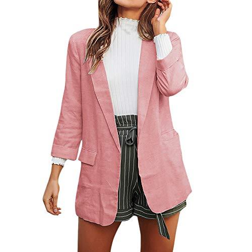 Mujeres Blazer Elegante Oficina Traje de Chaqueta Outwear Casual STRIR (Rosa#01221, L)