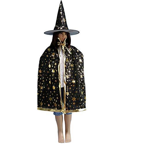 Keephen Halloween Kinder Kostüm Cape Mantel Party Prom Leistung Bronze Fünf Sterne Umhang Mit Hut 4-35 Jahre alt Blau