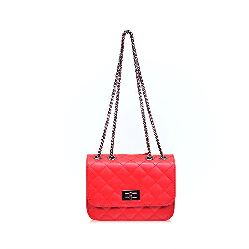 Sheli Gilrs Genuine Leather Miniature Cross-Body Quilted Chain Bag for Phone Summer Travel Dating (Kostüm Bagman)