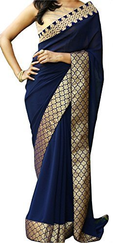 sarees Center Women's Georgette Saree With Blouse Piece (Nx - 167 ,Blue...