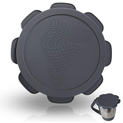 Silikon-Deckel für Vorwerk Thermomix TM5 TM6 Mixtopf. Wasser- und luftdichter Auslaufschutz. Mixcover das unverzichtbare Zubehör für ihre Küchen-maschine (Rollercoaster Grey)