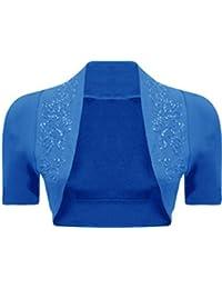 Nouveaux Femmes Plus Size Sequines perles manches courtes boléro shirt Top 36-54