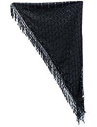 Foulard troué légé en triangle avec bordure en dentelle frangée NYFASHION101®