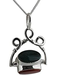 Silver 38x25mm 3 stone celtic Spinning Fob Pendant with a 1.3mm wide curb Chain BKNcjG