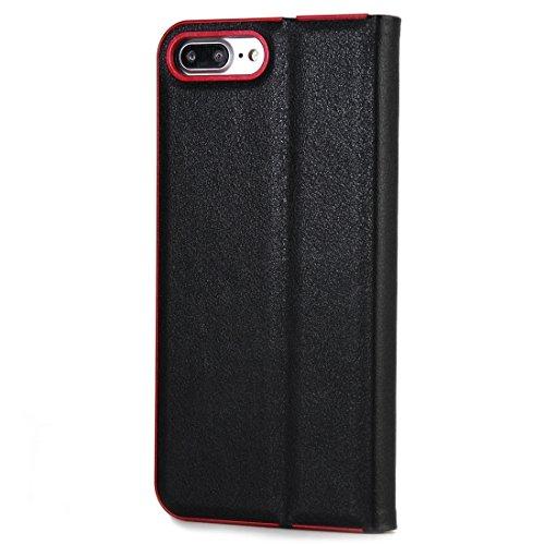 GHC Cases & Covers, Für iPhone 7 Plus Cowhide Texture PC Stoßfänger Starke magnetische Adsorption Horizontale Flip Leder Tasche mit Card Slots & Holder ( Color : Blue ) Black