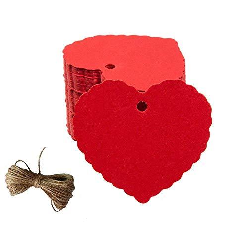Geschenk Anhänger Papieranhänger, 200pc Pfirsich Herzform Kraftpapier Etiketten/Hängeetiketten mit Gratis Natürlich Jute Schnur für Weihnachten Hochzeit Geburtstag Gefälligkeiten (Rot)