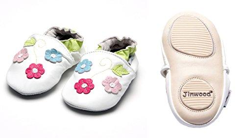 Jinwood designed by amsomo - Jungen - Maedchen - Hausschuhe - ECHT LEDER - Lederpuschen - Krabbelschuhe - soft sole / mini shoes div. Groeßen flower green mini shoes