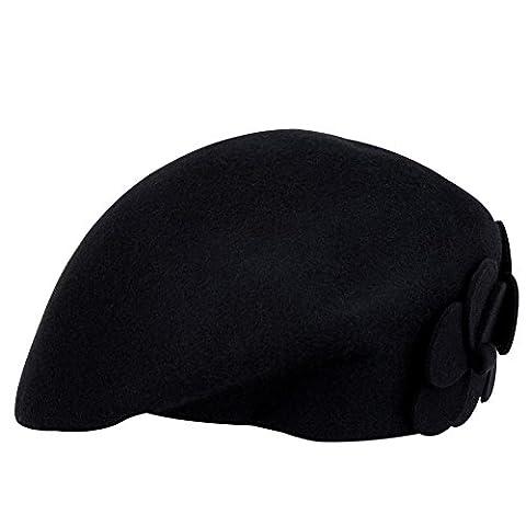 Beret Femme Noir - Vbiger Béret en Laine pour Femme Chapeau