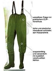 Vadeador de Pesca Pantalones, Pantalones Estanque con fibras Botas Talla L (42/43)