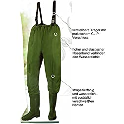 Wathose,Anglerhose,Teichhose mit eingearbeiteten Stiefeln Gr.L(42/43)