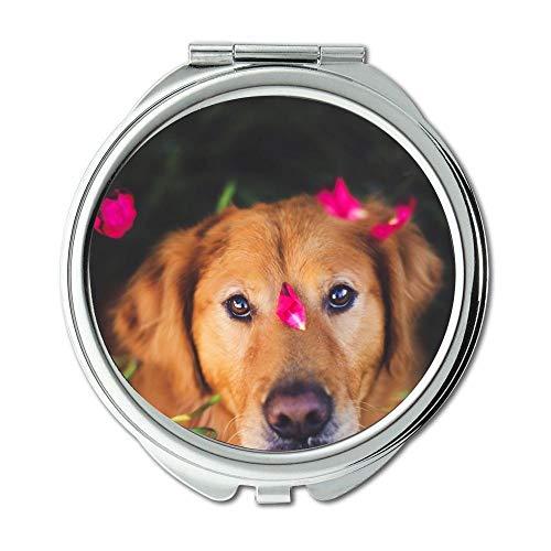 Yanteng Spiegel, Travel Mirror, Mops Hund golden Retriever, Taschenspiegel, 1 X 2X Vergrößerung