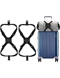 2 correas de equipaje de color negro, correas ajustables para maleta, cinturón de maleta resistente con hebilla para carritos de viaje