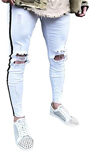 Herren Jeans RÖHRENJEANS Risse Destroyed Style Herrenjeans Biker Jeanshose Stretch Black Vintage Neu Blau Skinny Denim Straight Hose röhre Shirt eng hellblau Denim Tee (28, Weiß - schwarzer Streifen) -