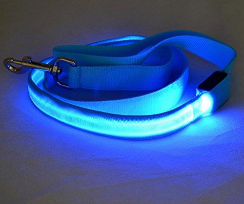 Maycong Hunde Geschirre LED Glowing Reflektierende Sicherheitsleine USB Wiederaufladbar für Nachtsichtbarkeit (Blau)