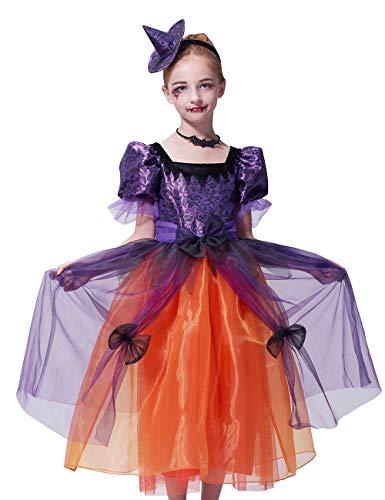 IKALI Mädchen Hexe Kostüm Zubehör, Deluxe Sorceress Fancy Dress Magic Dress Outfit Party Dekorationen für Kinder ()